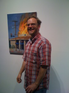 Painting shows a burning Bank of America